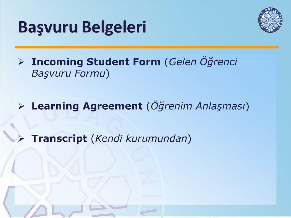 Başvuru Belgeleri Incoming Student Form (Gelen Öğrenci Başvuru Formu)