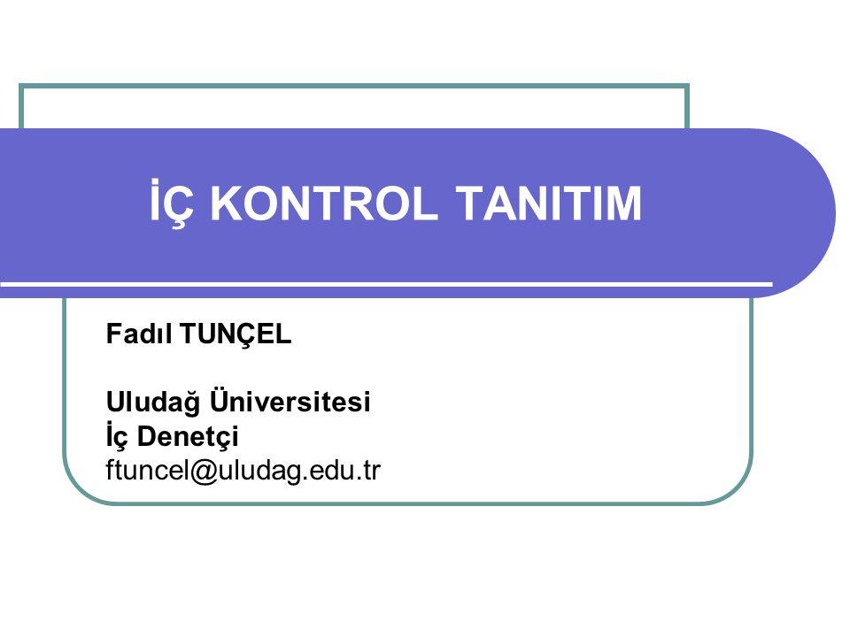 Fadıl TUNÇEL Uludağ Üniversitesi İç Denetçi ftuncel@uludag.edu.tr