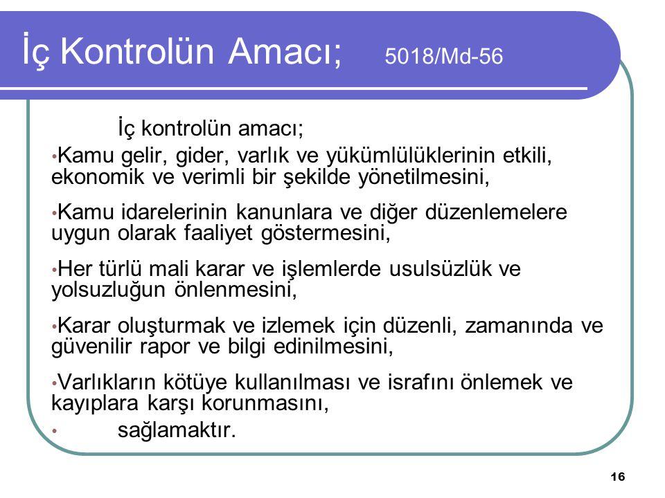 İç Kontrolün Amacı; 5018/Md-56