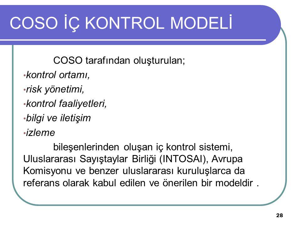 COSO İÇ KONTROL MODELİ COSO tarafından oluşturulan; kontrol ortamı,
