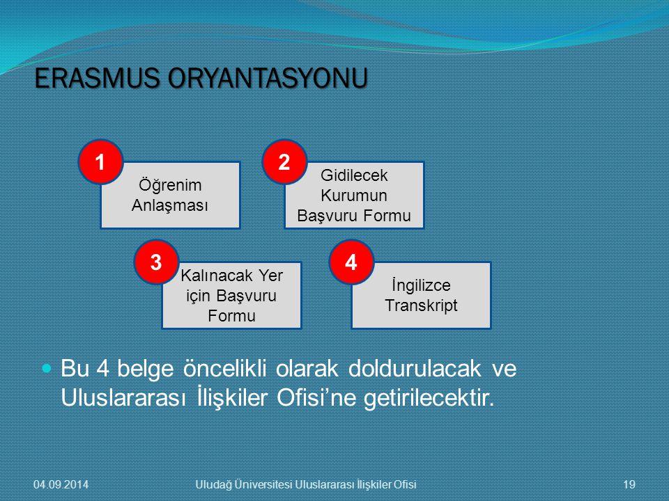ERASMUS ORYANTASYONU Bu 4 belge öncelikli olarak doldurulacak ve Uluslararası İlişkiler Ofisi'ne getirilecektir.