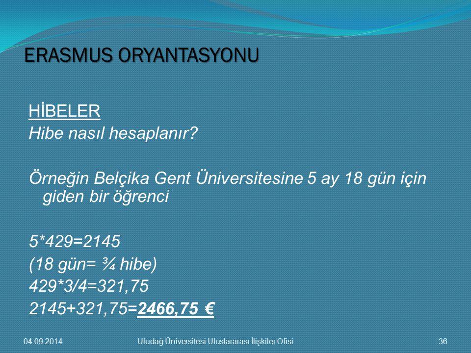 ERASMUS ORYANTASYONU HİBELER Hibe nasıl hesaplanır