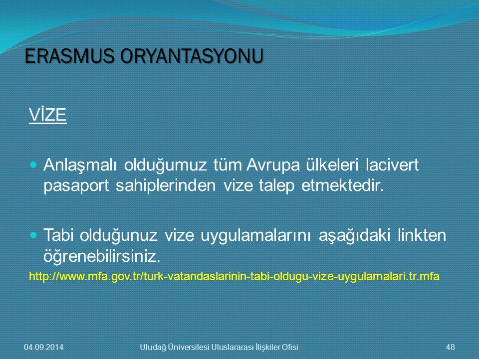 ERASMUS ORYANTASYONU VİZE