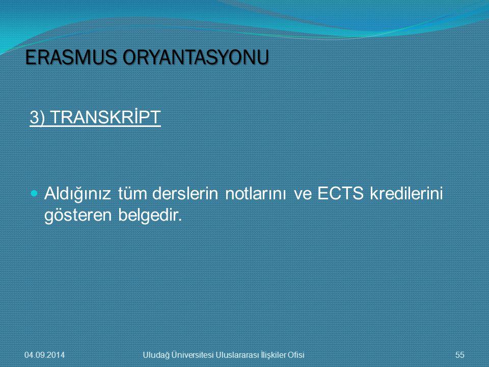 ERASMUS ORYANTASYONU 3) TRANSKRİPT