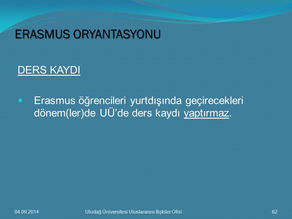 ERASMUS ORYANTASYONU DERS KAYDI