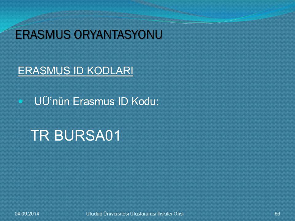 TR BURSA01 ERASMUS ORYANTASYONU ERASMUS ID KODLARI