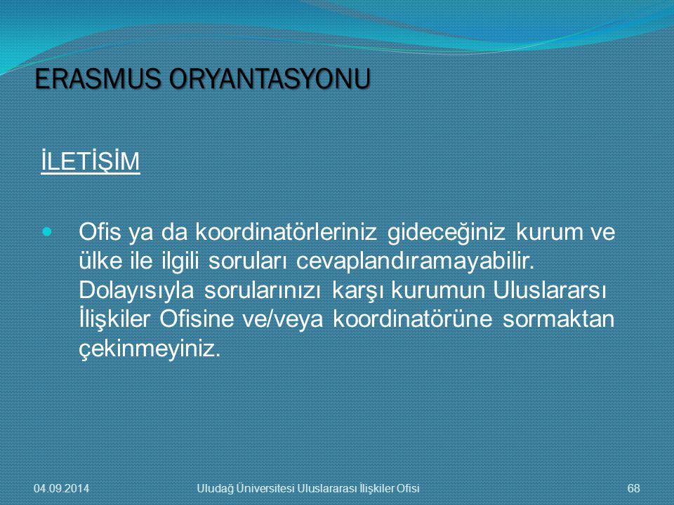 ERASMUS ORYANTASYONU İLETİŞİM