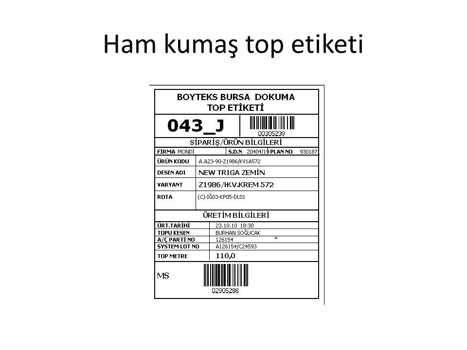 Ham kumaş top etiketi