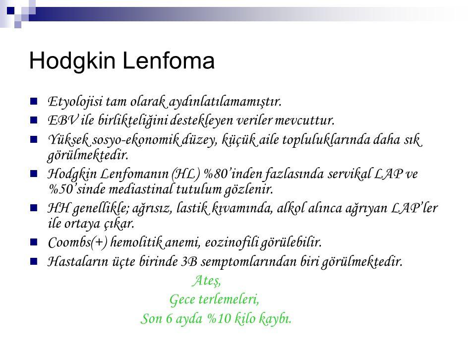 Hodgkin Lenfoma Etyolojisi tam olarak aydınlatılamamıştır.