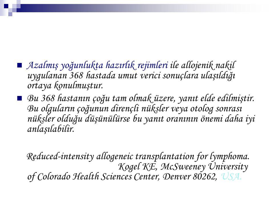 Azalmış yoğunlukta hazırlık rejimleri ile allojenik nakil uygulanan 368 hastada umut verici sonuçlara ulaşıldığı ortaya konulmuştur.