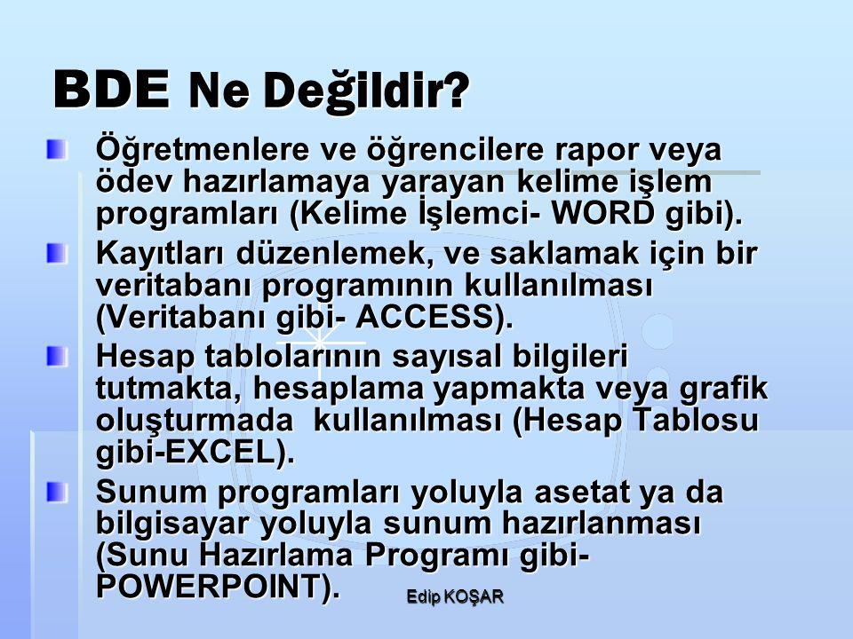 BDE Ne Değildir Öğretmenlere ve öğrencilere rapor veya ödev hazırlamaya yarayan kelime işlem programları (Kelime İşlemci- WORD gibi).
