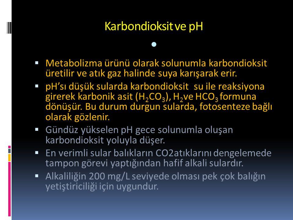 Karbondioksit ve pH • Metabolizma ürünü olarak solunumla karbondioksit üretilir ve atık gaz halinde suya karışarak erir.