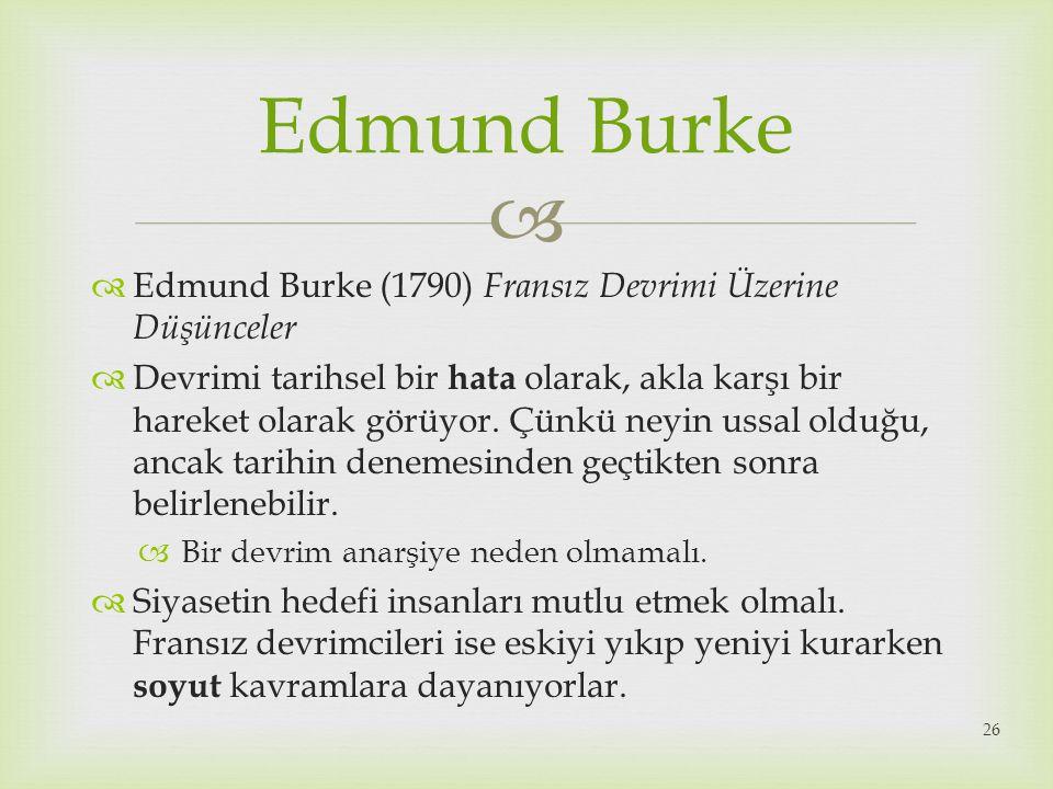Edmund Burke Edmund Burke (1790) Fransız Devrimi Üzerine Düşünceler