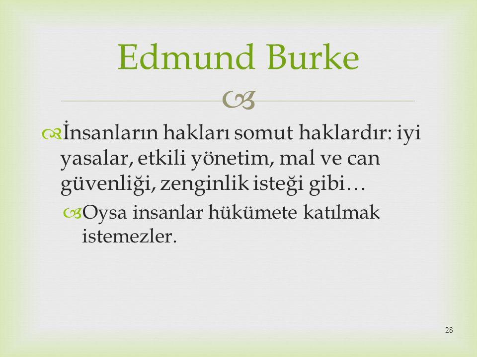 Edmund Burke İnsanların hakları somut haklardır: iyi yasalar, etkili yönetim, mal ve can güvenliği, zenginlik isteği gibi…