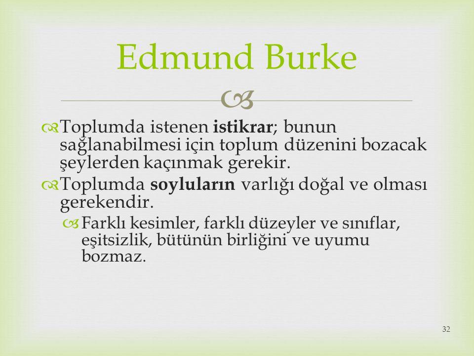 Edmund Burke Toplumda istenen istikrar; bunun sağlanabilmesi için toplum düzenini bozacak şeylerden kaçınmak gerekir.