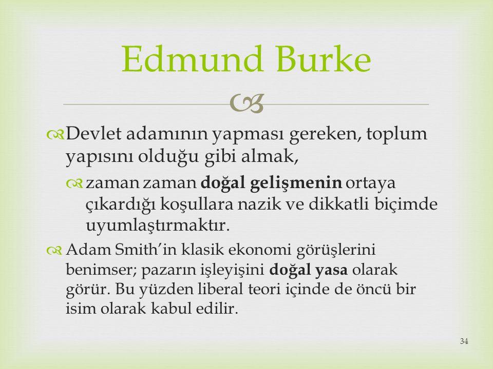 Edmund Burke Devlet adamının yapması gereken, toplum yapısını olduğu gibi almak,