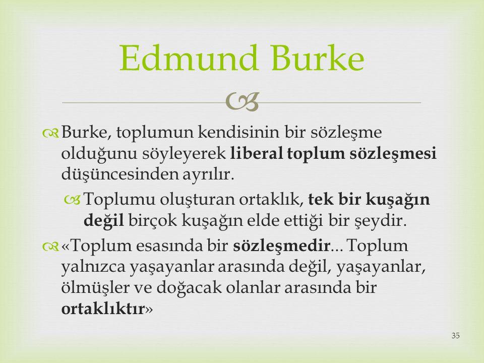 Edmund Burke Burke, toplumun kendisinin bir sözleşme olduğunu söyleyerek liberal toplum sözleşmesi düşüncesinden ayrılır.