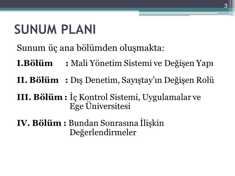 SUNUM PLANI Sunum üç ana bölümden oluşmakta: