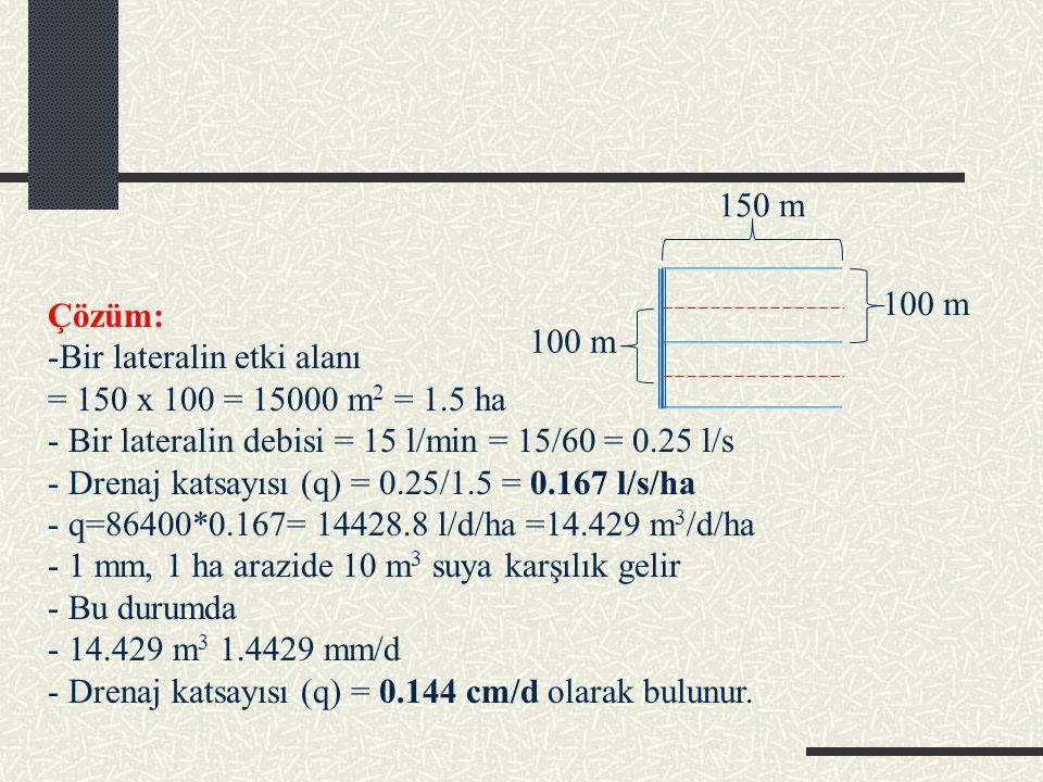 100 m 150 m. Çözüm: Bir lateralin etki alanı. = 150 x 100 = 15000 m2 = 1.5 ha. - Bir lateralin debisi = 15 l/min = 15/60 = 0.25 l/s.