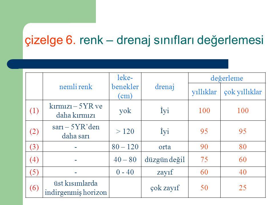 çizelge 6. renk – drenaj sınıfları değerlemesi