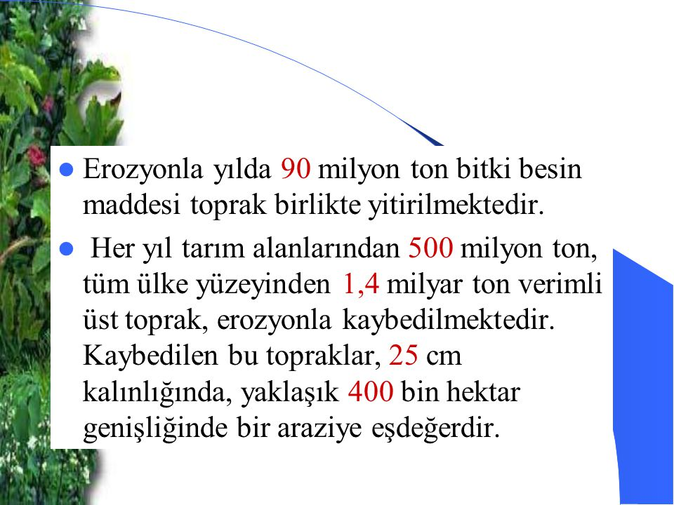 Erozyonla yılda 90 milyon ton bitki besin maddesi toprak birlikte yitirilmektedir.