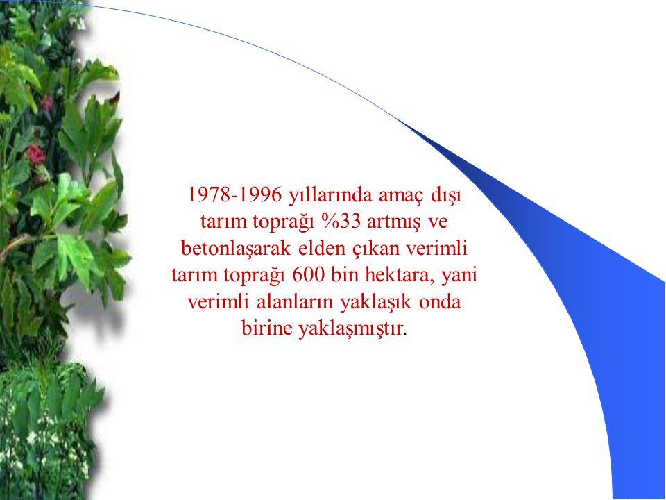 1978-1996 yıllarında amaç dışı tarım toprağı %33 artmış ve betonlaşarak elden çıkan verimli tarım toprağı 600 bin hektara, yani verimli alanların yaklaşık onda birine yaklaşmıştır.