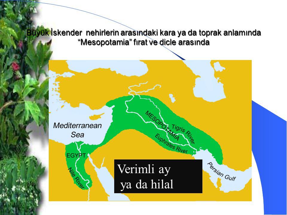 Büyük İskender nehirlerin arasındaki kara ya da toprak anlamında Mesopotamia fırat ve dicle arasında