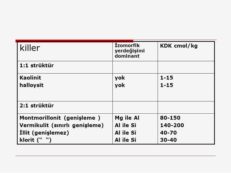 killer KDK cmol/kg 1:1 strüktür Kaolinit halloysit yok 1-15
