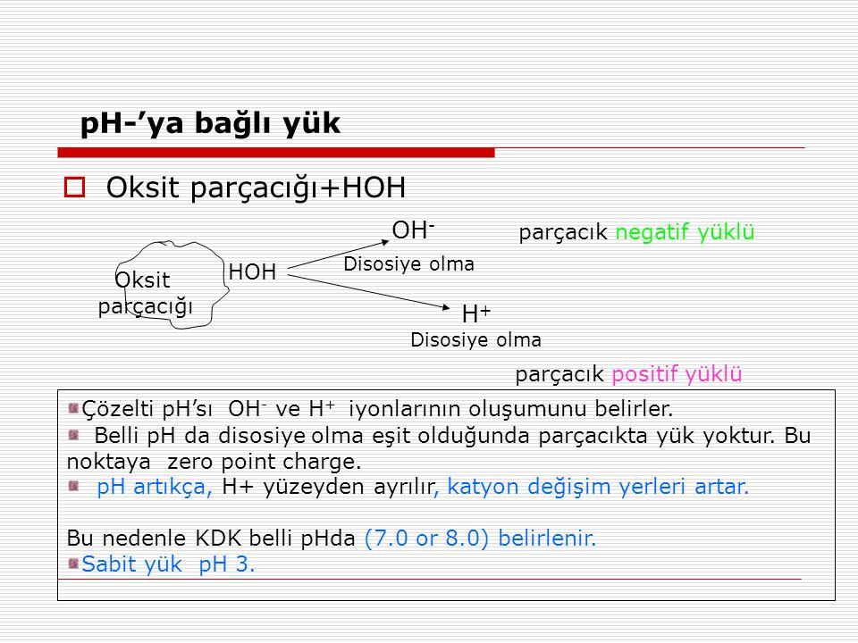 pH-'ya bağlı yük Oksit parçacığı+HOH Disosiye olma H+ OH-
