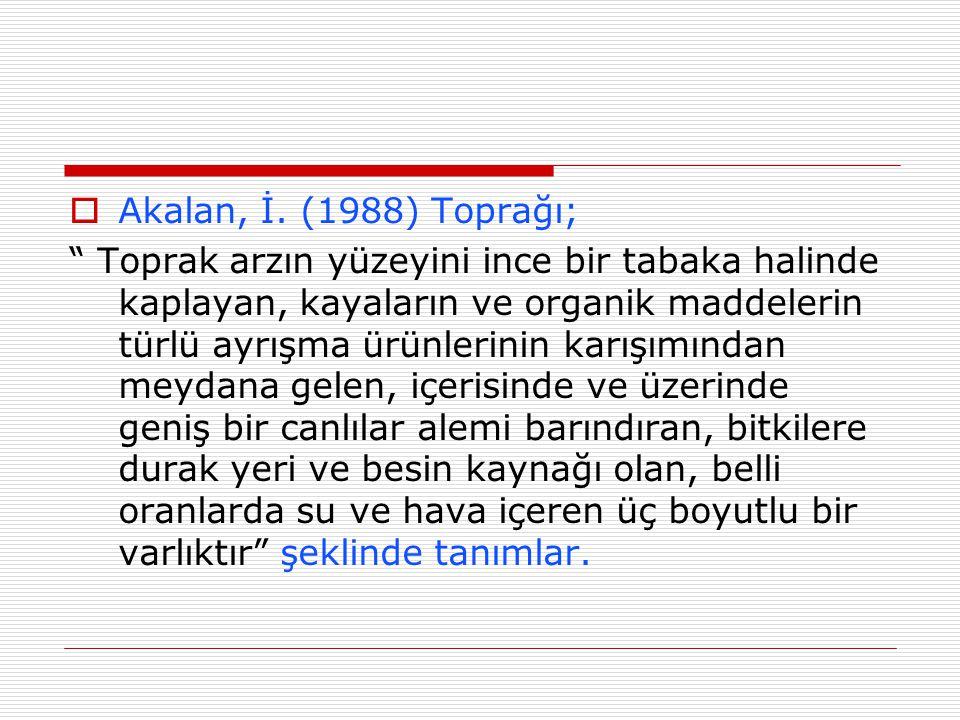 Akalan, İ. (1988) Toprağı;
