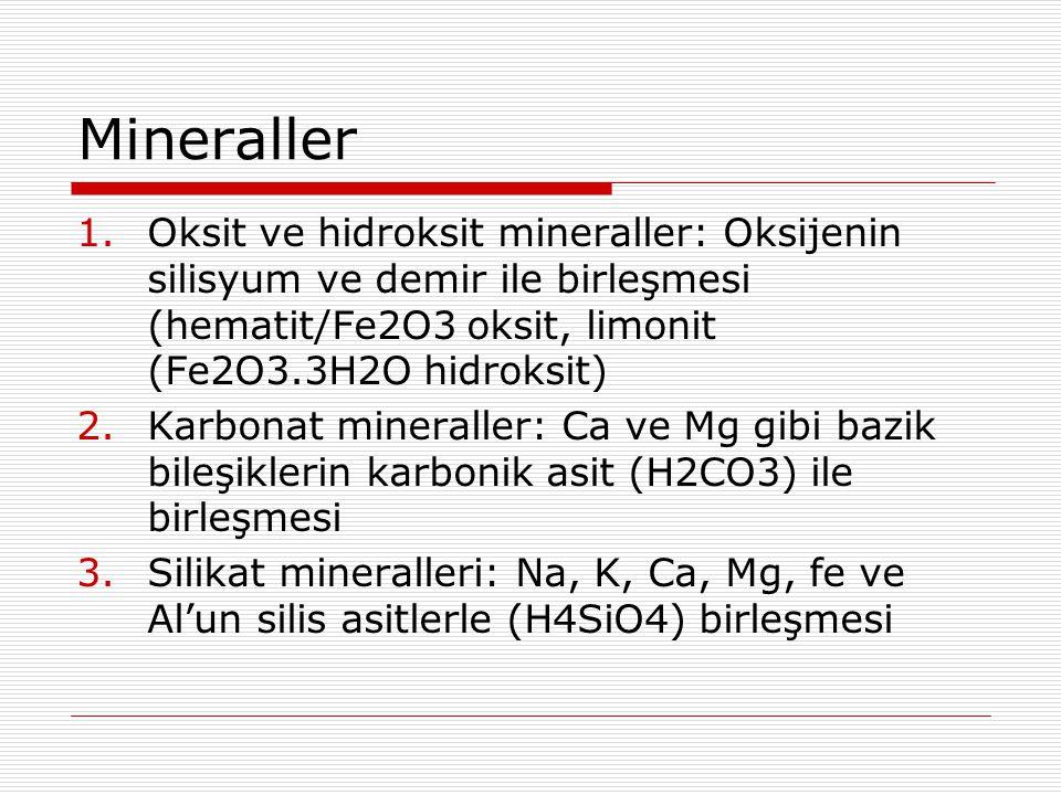Mineraller Oksit ve hidroksit mineraller: Oksijenin silisyum ve demir ile birleşmesi (hematit/Fe2O3 oksit, limonit (Fe2O3.3H2O hidroksit)
