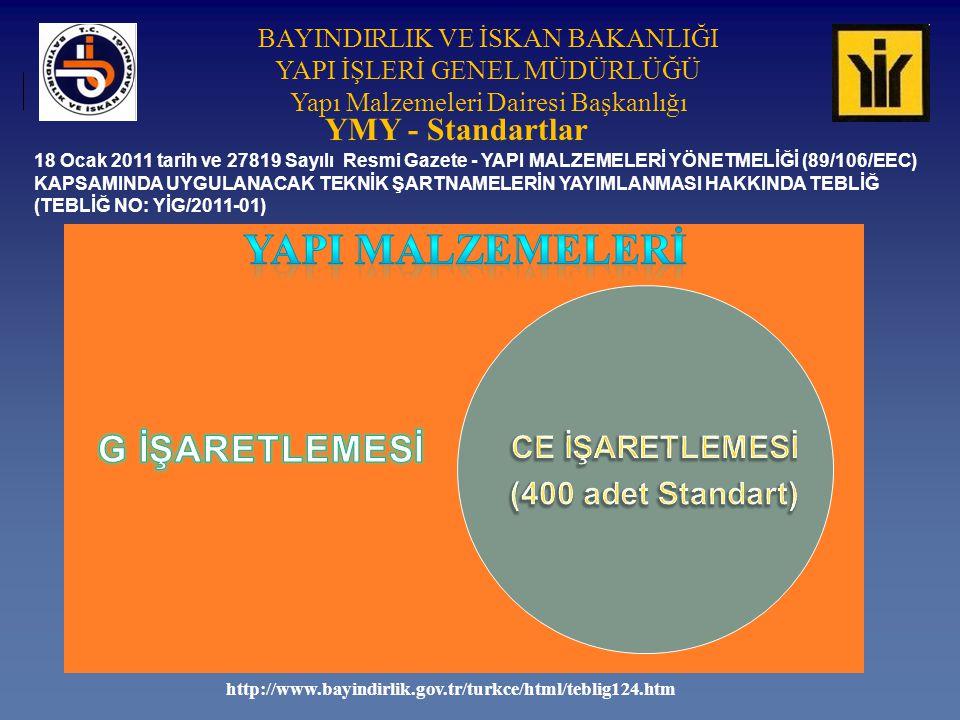 YAPI MALZEMELERİ YMY - Standartlar (400 adet Standart) G İŞARETLEMESİ