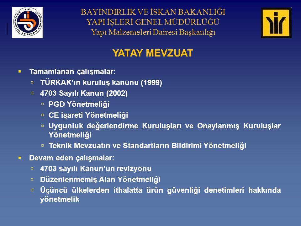 YATAY MEVZUAT Tamamlanan çalışmalar: TÜRKAK'ın kuruluş kanunu (1999)