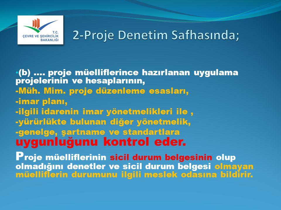 2-Proje Denetim Safhasında;
