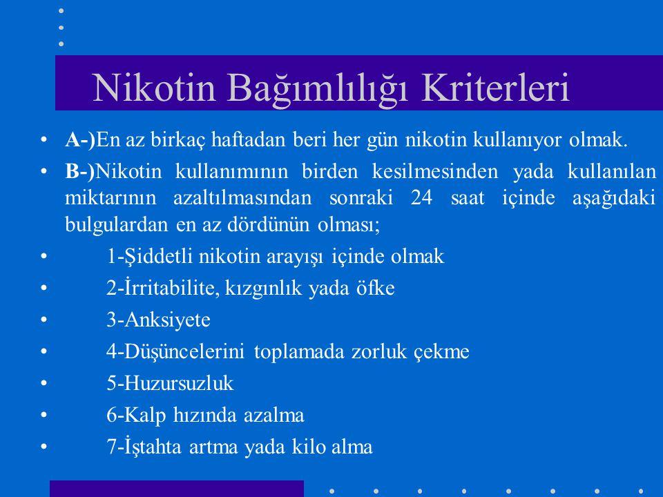Nikotin Bağımlılığı Kriterleri