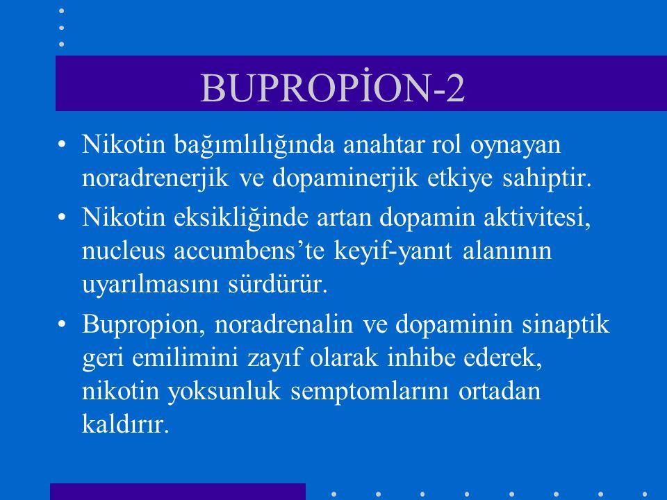 BUPROPİON-2 Nikotin bağımlılığında anahtar rol oynayan noradrenerjik ve dopaminerjik etkiye sahiptir.