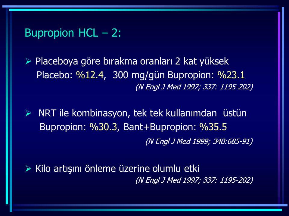 Bupropion HCL – 2: Placeboya göre bırakma oranları 2 kat yüksek