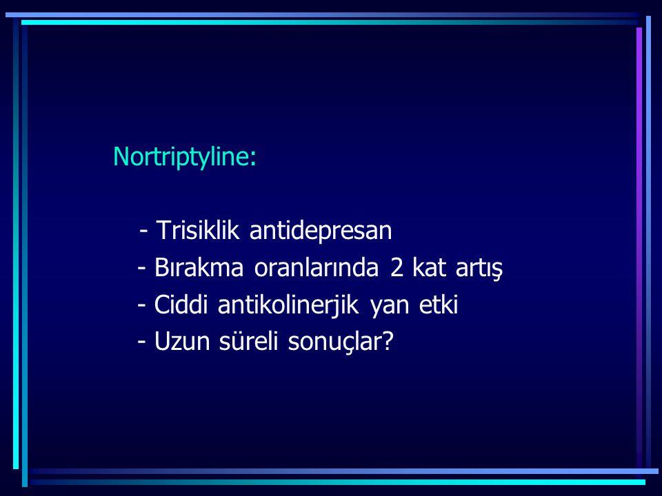 - Bırakma oranlarında 2 kat artış - Ciddi antikolinerjik yan etki