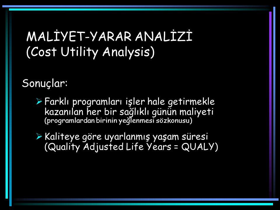 MALİYET-YARAR ANALİZİ (Cost Utility Analysis)