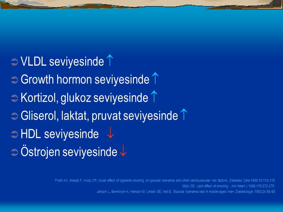 Growth hormon seviyesinde  Kortizol, glukoz seviyesinde 