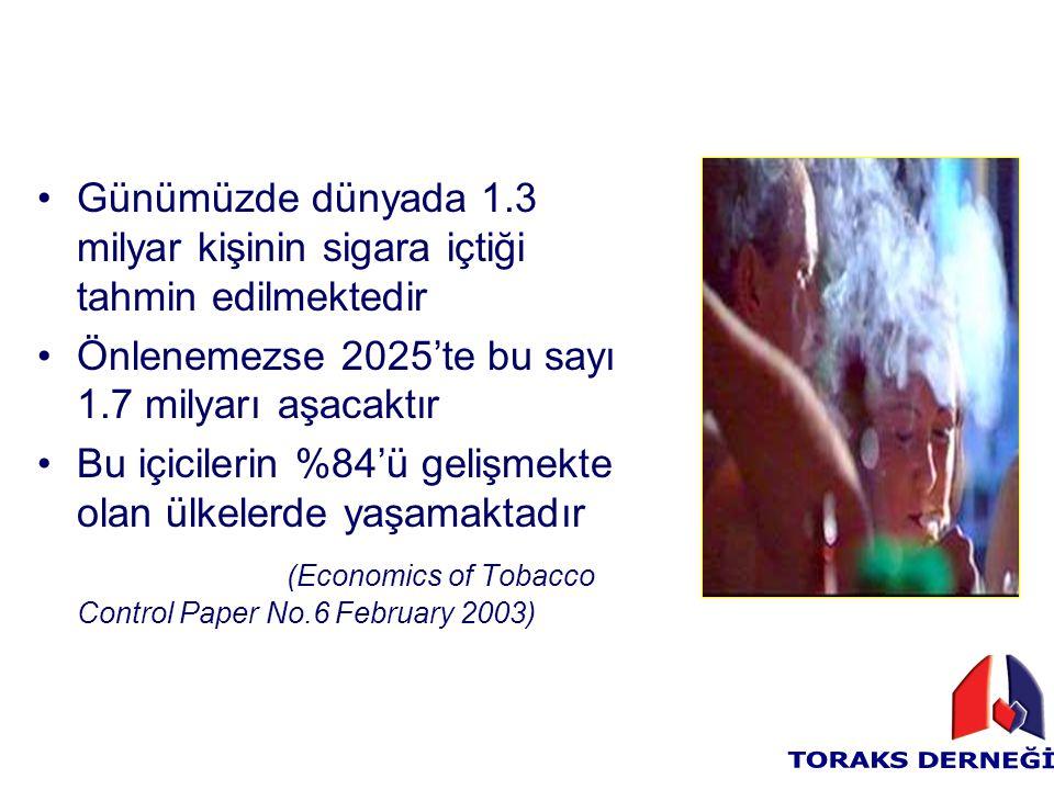 Günümüzde dünyada 1.3 milyar kişinin sigara içtiği tahmin edilmektedir