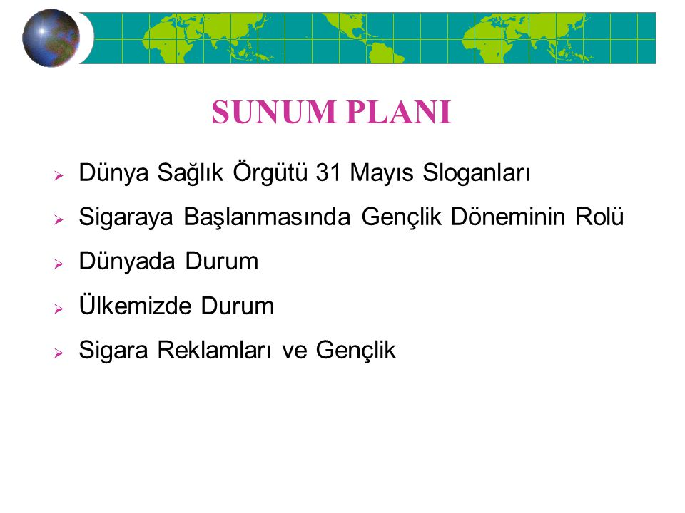 SUNUM PLANI Dünya Sağlık Örgütü 31 Mayıs Sloganları