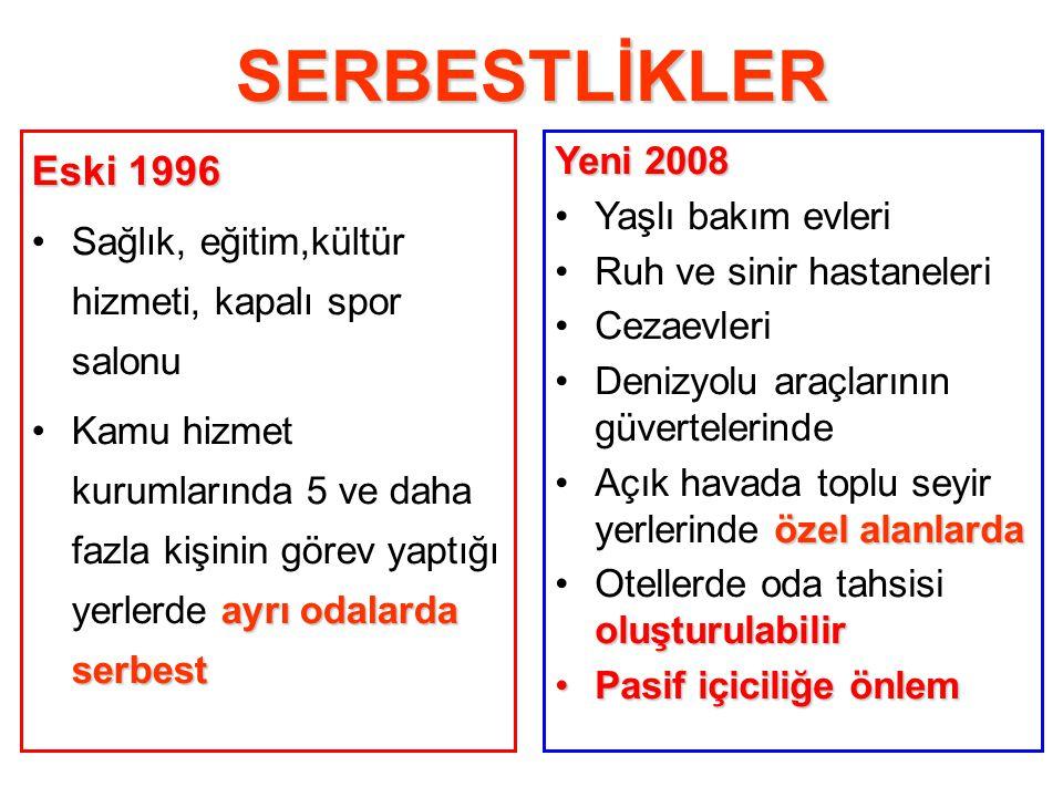 SERBESTLİKLER Eski 1996 Yeni 2008 Yaşlı bakım evleri