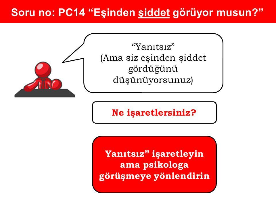Soru no: PC14 Eşinden şiddet görüyor musun