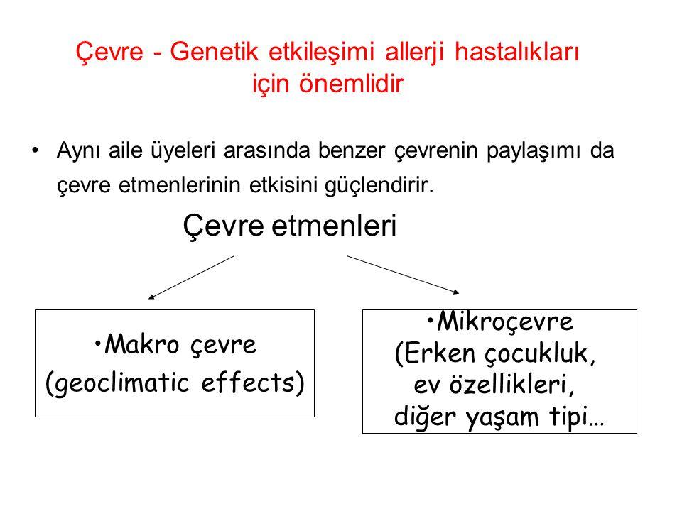 Çevre - Genetik etkileşimi allerji hastalıkları için önemlidir