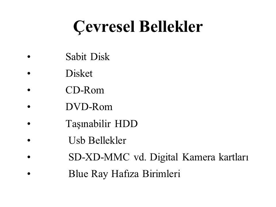 Çevresel Bellekler Sabit Disk Disket CD-Rom DVD-Rom Taşınabilir HDD