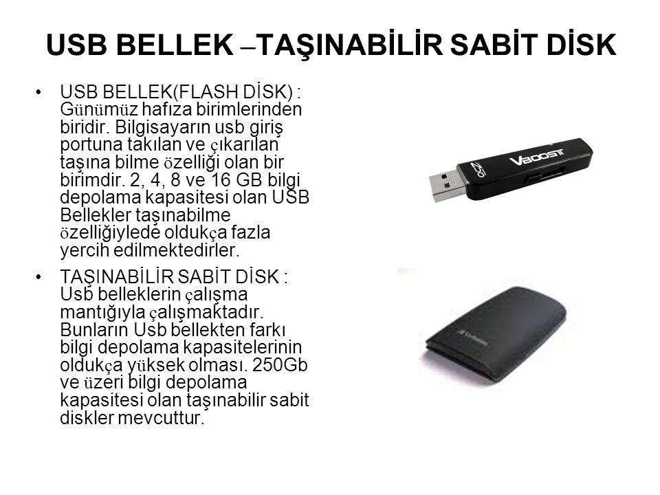USB BELLEK –TAŞINABİLİR SABİT DİSK