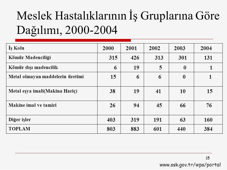Meslek Hastalıklarının İş Gruplarına Göre Dağılımı, 2000-2004