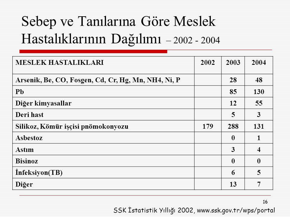 Sebep ve Tanılarına Göre Meslek Hastalıklarının Dağılımı – 2002 - 2004