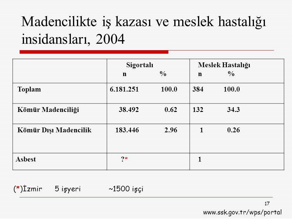 Madencilikte iş kazası ve meslek hastalığı insidansları, 2004